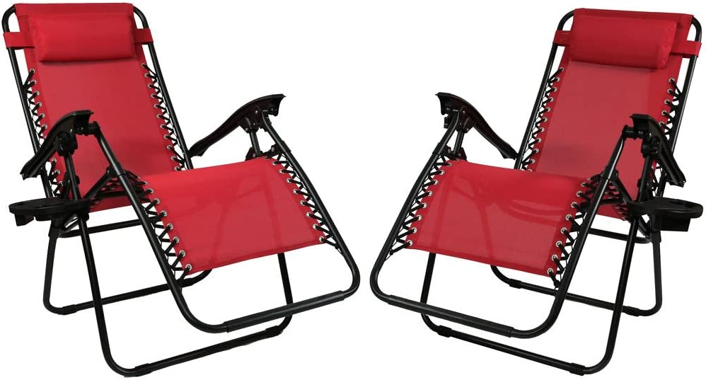 Sunnydaze Outdoor Zero Gravity Lounge Chairs with Pillow and Cup Holder Folding Patio Lawn Recliner Set of 2 Red
