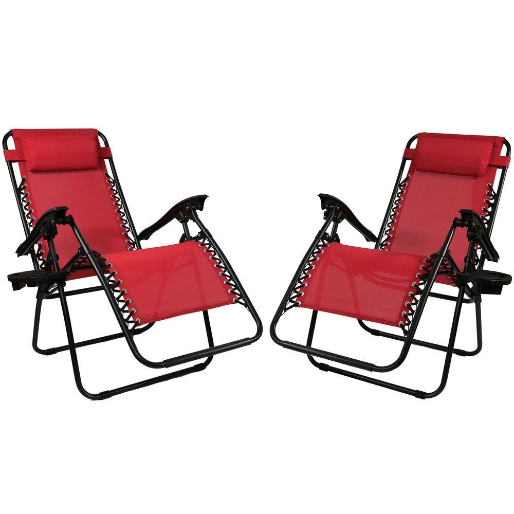 Sunnydaze Outdoor Zero Gravity Lounge Chair with Pillow and Cup Holder, Folding Patio Lawn Recliner, Set of 2, Red