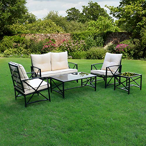 Friday discount Outdoor Patio 5 PCS Metal Furniture Conversation Set with Cushioned Chairs, Coffee Table – Beige