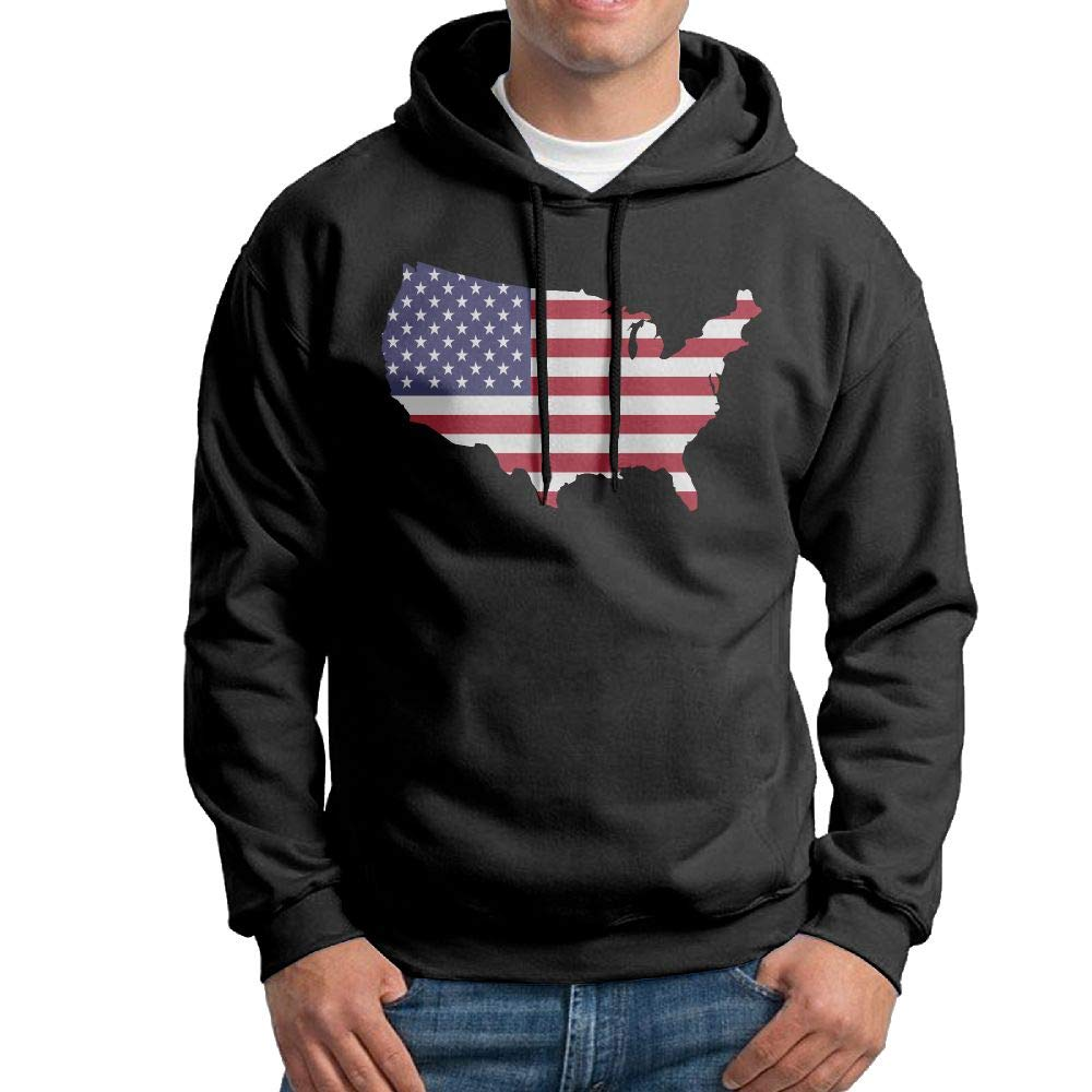 Mens Pullover Hoodie Original America Map Cotton Outwear for Mens