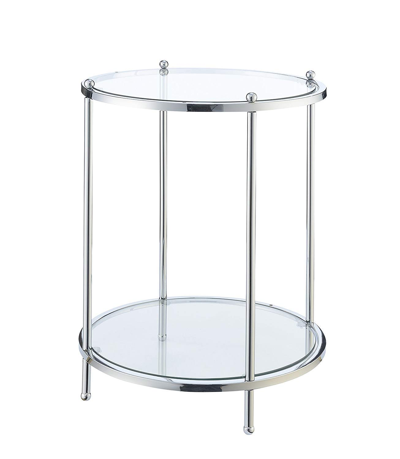 Convenience Concepts 134245 Royal Crest Round End Table, Clear Glass/Chrome Frame by Convenience Concepts