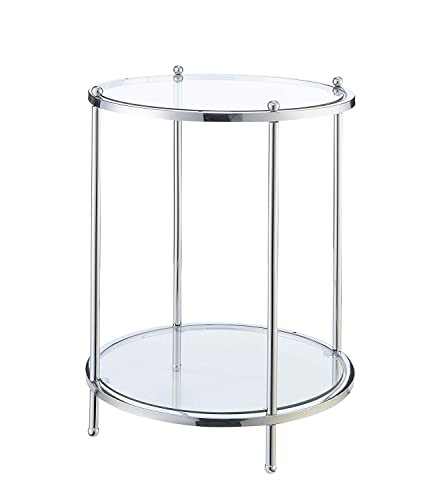 Convenience Concepts Royal Crest Round End Table, Clear Glass Chrome Frame