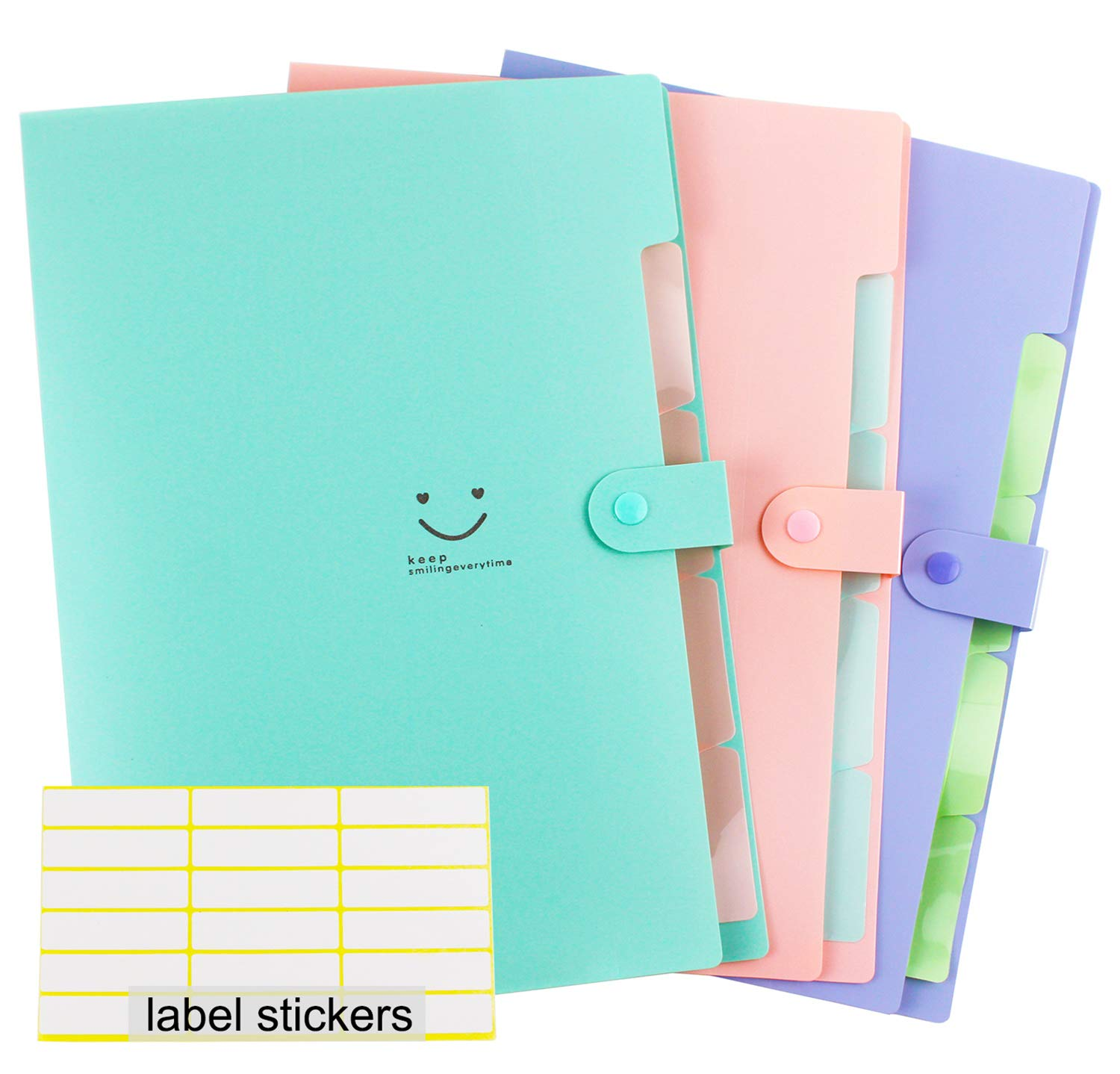 Expanding File Folder Letter Size 5 Pockets A4 Accordion File Organizer Snap Closure with File Folder Labels for Business/Office/School Set of 3(Pink,Teal,Purple)