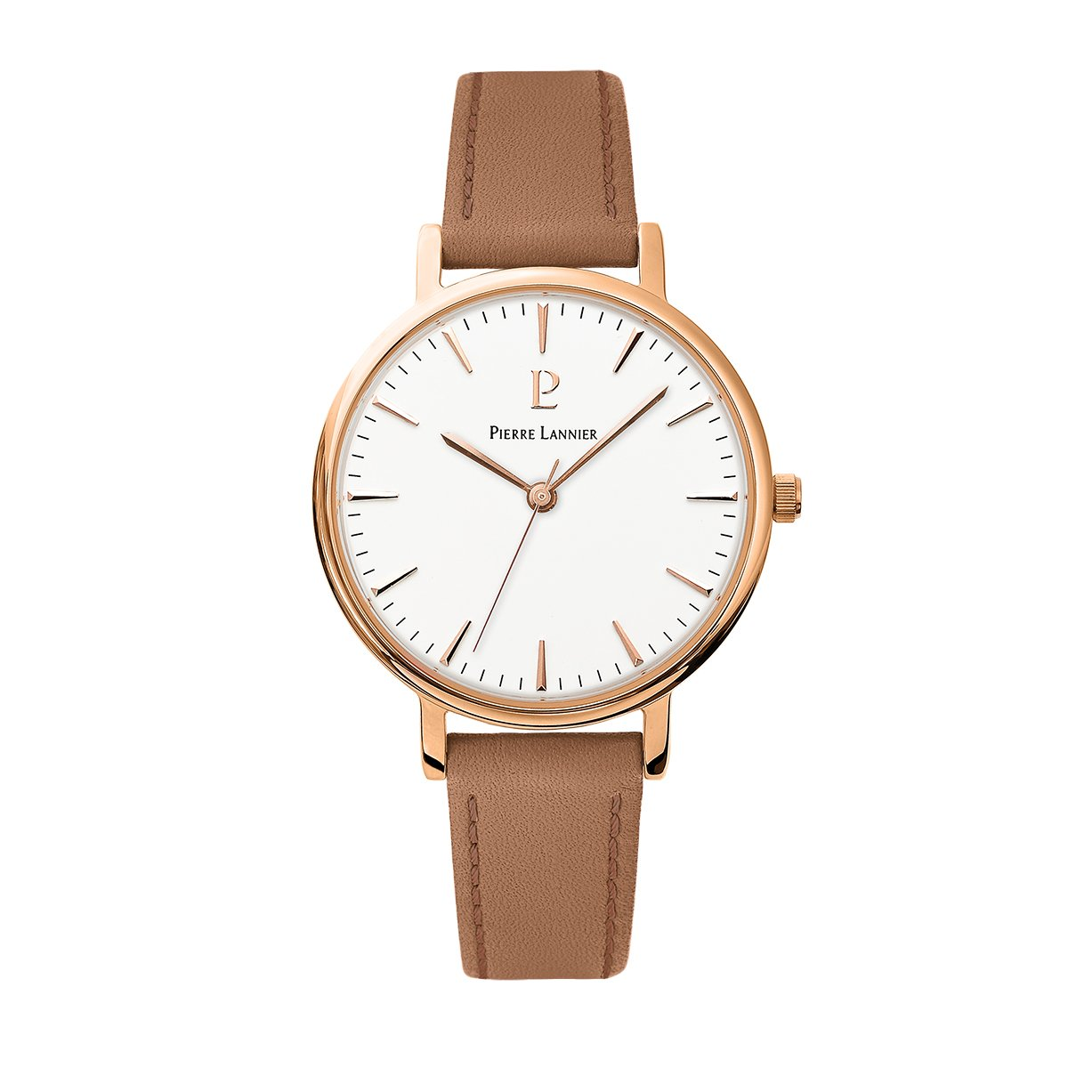 Women's Watch Pierre Lannier - 090G914 - WEEK-END SYMPHONY - Deep Brown and Rose Gold - Leather Band