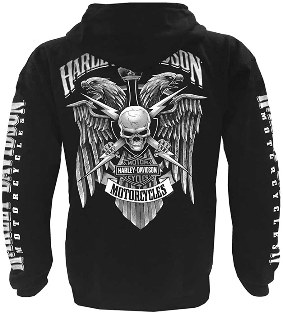 Black Harley-Davidson Mens Lightning Crest Full-Zippered Hooded Sweatshirt