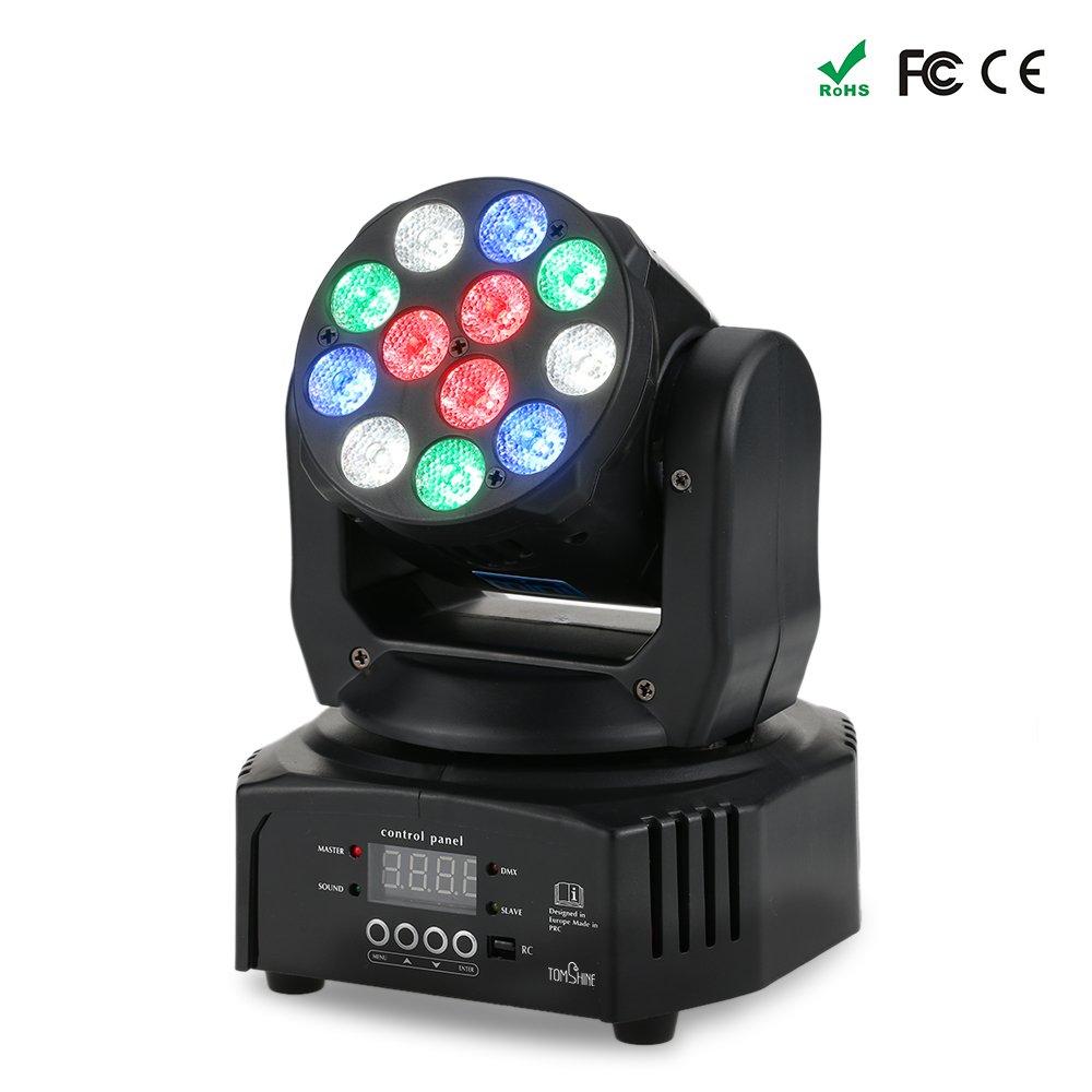 Tomshine 40W Moving Head Stage Light 12 LED RGBW 14/16 Channels Washing Effect Stage Light Support Sound Activation Auto DMX512 Master-Slave Mode TS-L1615