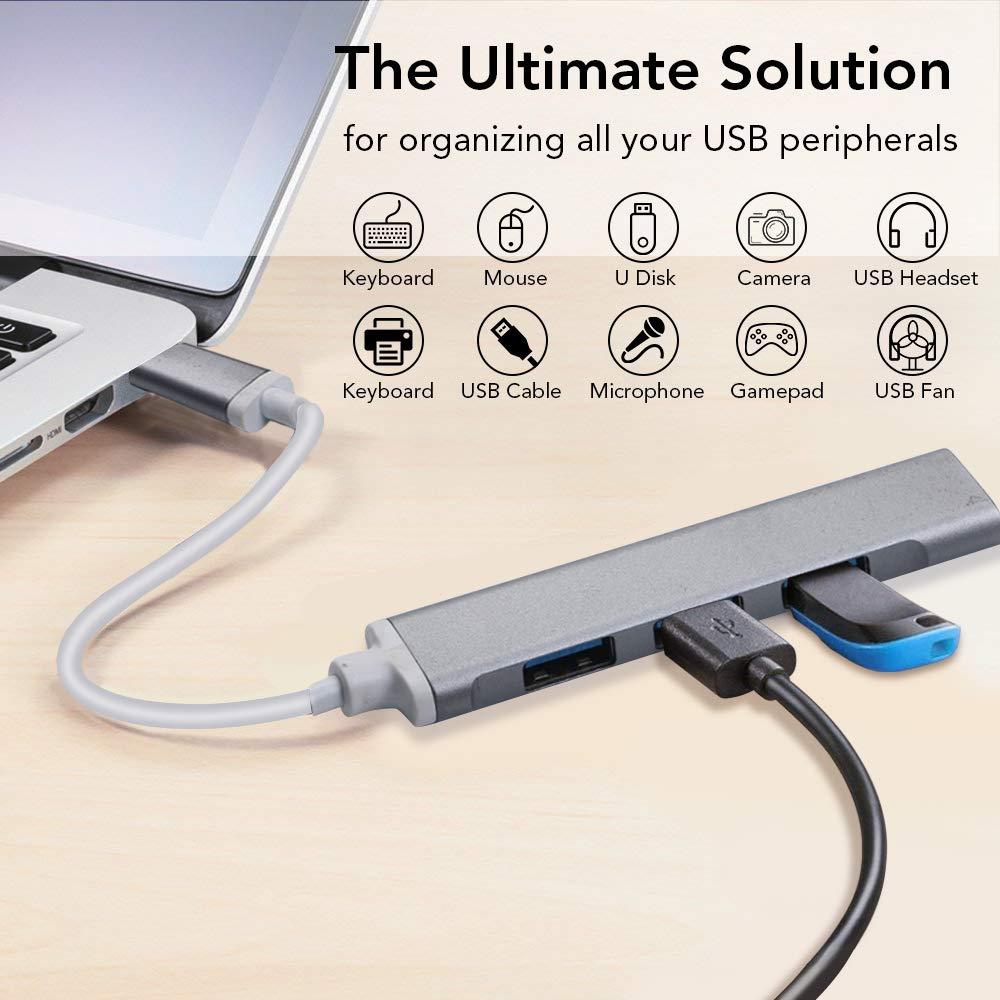 Vista Mac 10.6.4 XP Mini Gris Espacial Hub USB 3.0 de 4 Puertos para Windows 10.8.7