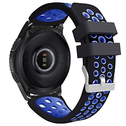 E ECSEM Compatible with Ticwatch Pro Band, Two-Toned Perforated Replacement Strap Breathable Accessory Wristband with Quick Lock&Release Buckle for ...