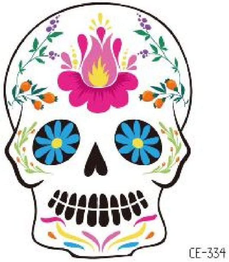 adgkitb 10 Piezas cráneo Flores Tatuajes para niños Halloween ...