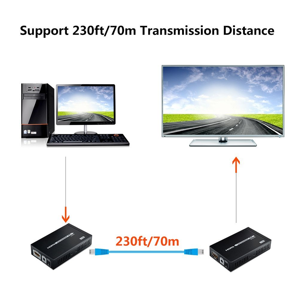 4K HDMI Extender 230ft/70m Supports, 3D,1080P, 4K Over Single CAT/6/6A/7 Cable with Bi-Directional IR Remote, POE Transmission by MYPIN (Image #2)