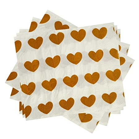 2 X Pack of 20 Paper Napkins with Love Heart Design for Birthday Party Decorative Tableware Events Festivals Weddings Black Napkin with White Hearts KRAFTZ/®