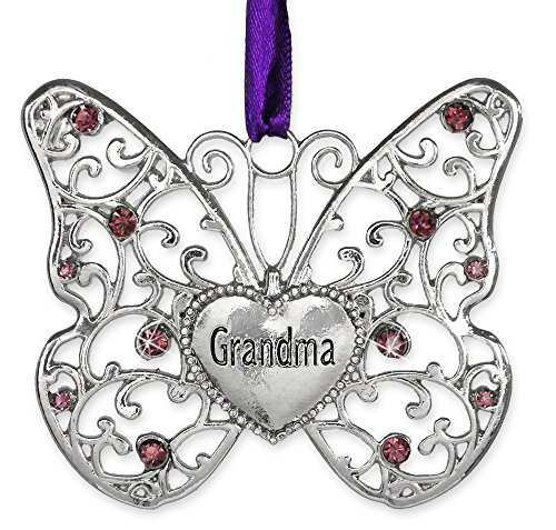Butterfly Ornament - Grandma Butterfly - Silver Metal Filigree Butterfly with Jewels Heart Shaped Charm Engraved with Grandma - Gifts for Grandma - Grandma Christmas Ornament - 3