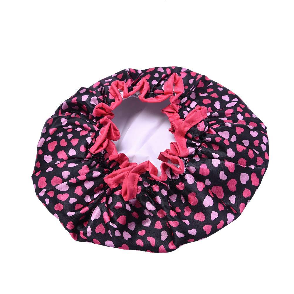 Amesii impermeabile donne elastico doccia bagno capelli, con tappo a forma di cuore stampato cappello Blue