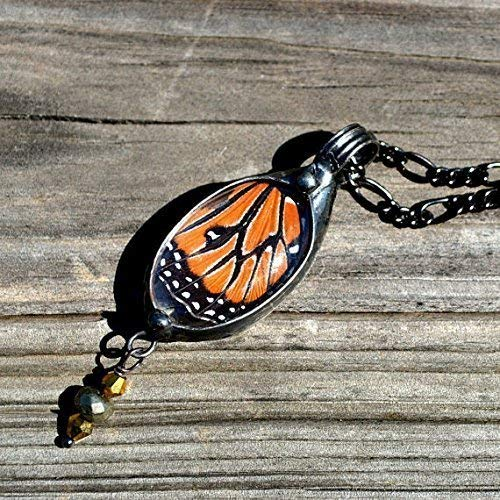 Oval Butterfly Wing Pendant, Handmade Monarch Jewelry, Pyrite & Gold Hematite Drop Necklace 2739m -