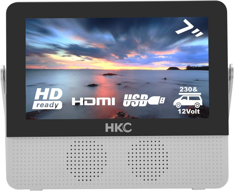 HKC P7H6 Mini TV portátil (TV HD de 7 Pulgadas) HDMI + USB, 60Hz, Reproductor Multimedia, batería incorporada, Cargador de Coche de 12 V, Antena portátil: Amazon.es: Electrónica