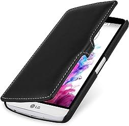 StilGut UltraSlim Case, custodia a libro con chiusura clip in vera pelle per LG G3 Stylus, nero nappa