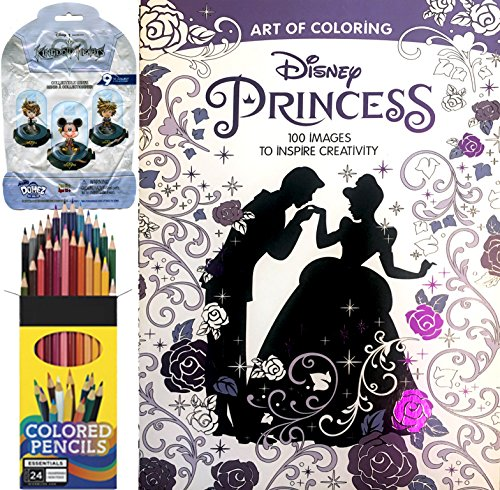Art of Coloring Princess Book 100 Images + Colored Pencils & Disney Mystery Blind Pack Kingdom Hearts Domez Figure Series Set (Dr Seuss Movie Characters)