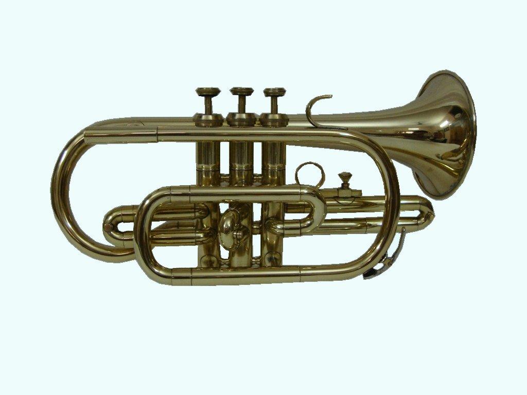 Global Art World Stylish And Stunning BB Flat Brass Finishing Cornet Trumpet + Mouth Piece MI 030
