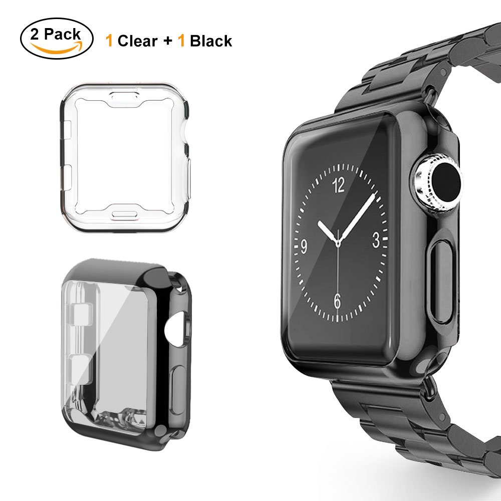 Ubole Case For Apple Watch Iwatch Screen Protector Soft Tpu 42mm Crystal Clear Ultra Thin Plated All Around