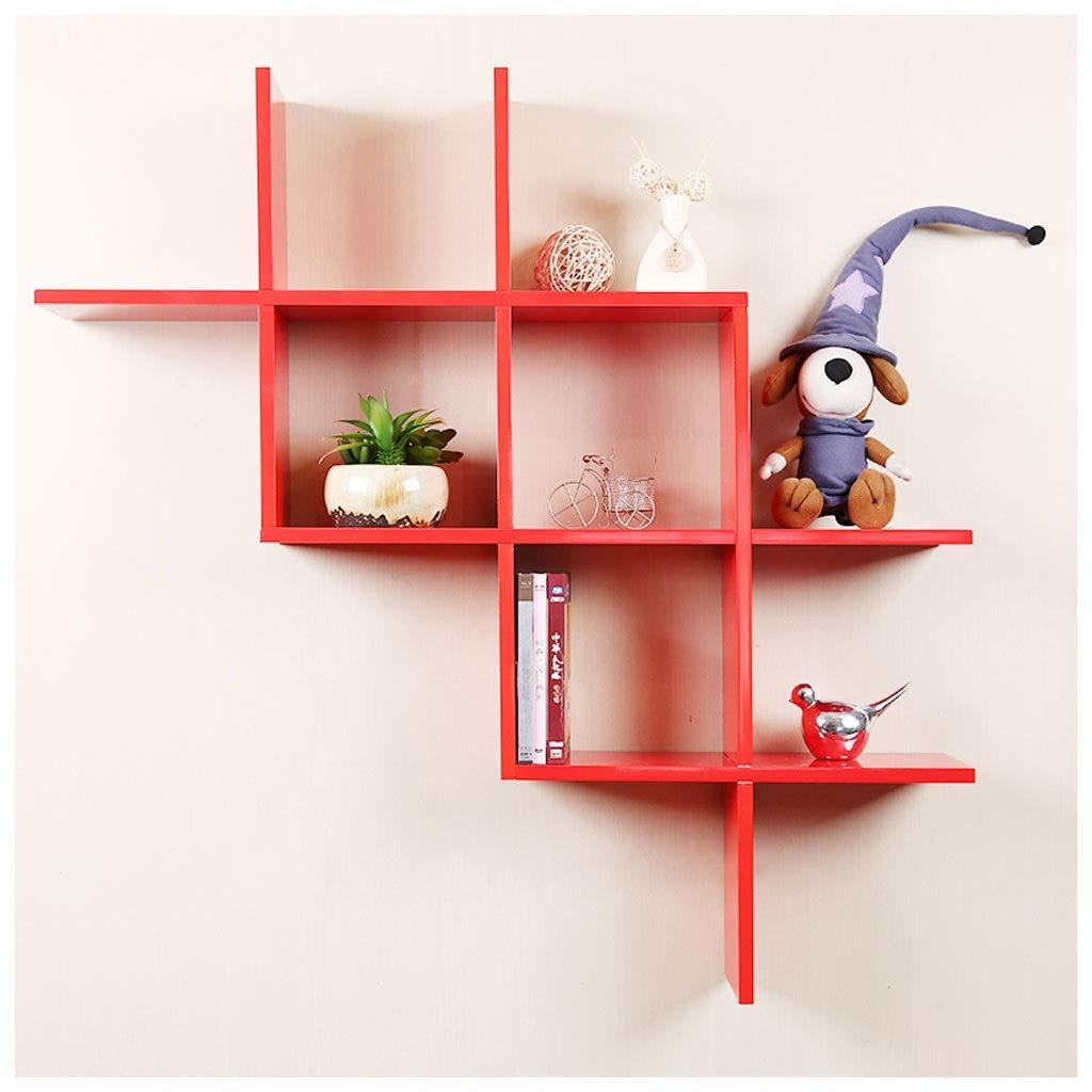 LDG 木製 ウォールシェルフ、現代の ウォール ラック 壁掛け棚 ブ収納ラック すべてのオフィス用リビングルームキッチンベッドルーム 飾り棚 (Color : Red) B07SSPPCDY Red