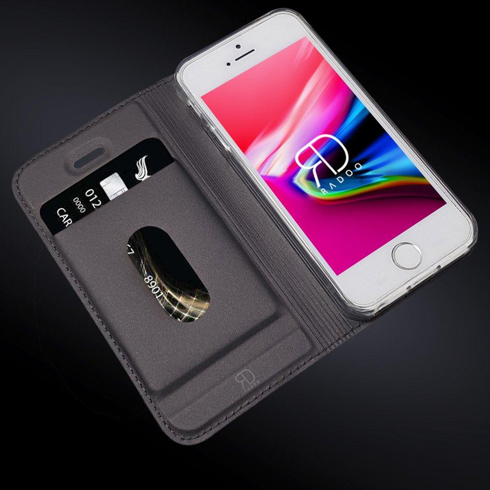 Schwarz grau Premium PU Leder Handyh/ülle Brieftasche-Stil Magnetisch Klapph/ülle Etui Brieftasche H/ülle Schutzh/ülle Tasche f/ür Apple iPhone 5//iPhone 5S//iPhone SE Radoo iPhone 5//5S//SE H/ülle