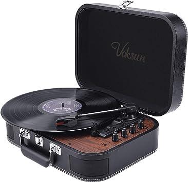 VOKSUN - Reproductor de discos de 3 velocidades (33/45/78 rpm ...
