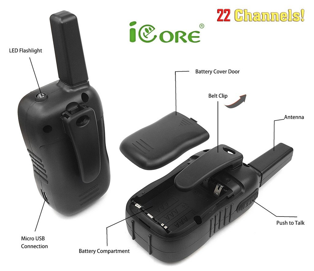 iCore Walkie Talkies for Kids, Long Range Walkie Talkie with 2 Way Radios (Pair), 22 Channel Walky Talk Rechargeable, Built-in Flash Light for Girls Boys Toys Age 6 7 Year Old Up (Orange) by iCore (Image #6)