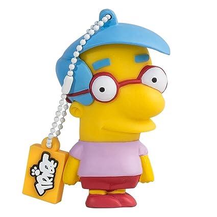 Tribe Los Simpsons Milhouse - Memoria USB 2.0 de 8 GB Pendrive Flash Drive de Goma con Llavero, Color Amarillo