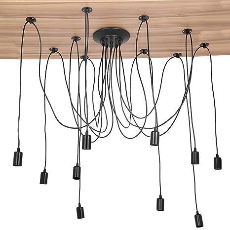 Lámpara de Techo Araña con 10 Brazos Ajustable Retro DIY ...