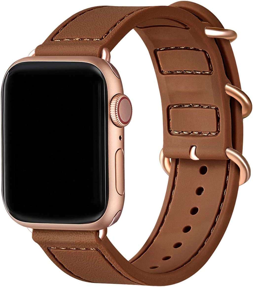 BesBand Compatible with Apple Watch Bands 44mm 42mm 40mm 38mm for Women Men,Soft Silicone Sport Strap Replacement Band for Apple Watch SE & iWatch Series 6/5/4/3/2/1 (Brown/Rose gold, 42mm 44mm)