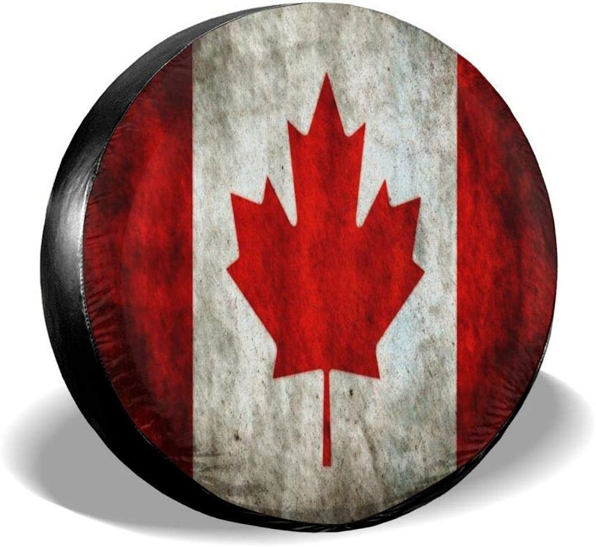 Spare Wheel Tire Cover Waterproof for Trailer Vintage Canadian Flag Tire Cover Wheel Covers for Jeep Trailer RV SUV Truck Camper Travel Trailer Accessories 14,15,16,17 Inch
