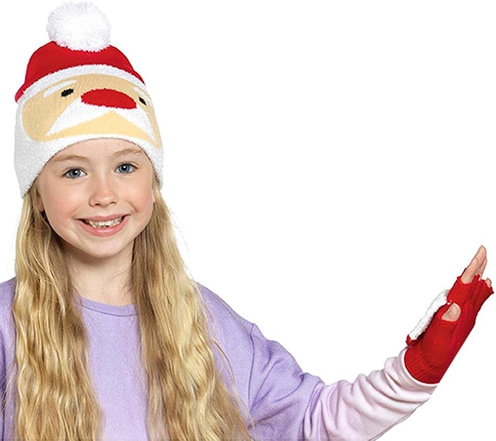 R J M Childs Santa or Christmas Pudding Boys Girls Christmas Novelty hat and Gloves Set