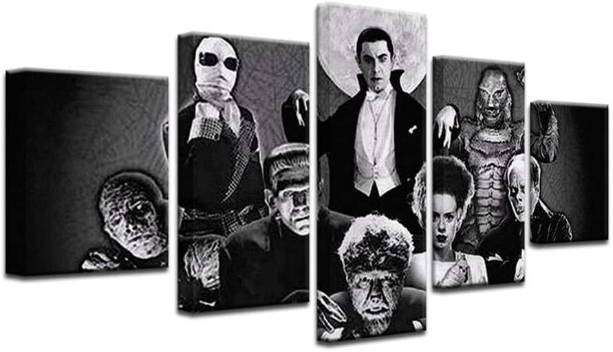 HAOSHUNDA Universal Classic Monsters Poster Canvas Wall Art Living Room Poster Home Decor Horror Posters 5 Panel Canvas Print Wall Art (12x20x2,12x28inx2,12x32inx1)
