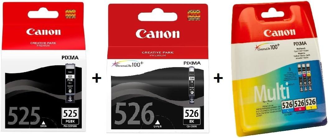 Canon PGI-525+CLI-526 5 Cartuchos de tinta original PGBK/BK/C/M/A para Impresora de Inyeccion de tinta Pixma MX715-MX885-MX895-MG5150-MG5250-MG5350-MG6150-MG6250-MG8150-MG8250-iP4850-iP4950-iX6550
