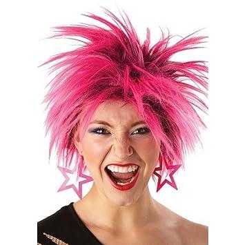 Peluca punk de los años 80 de Rubies, para mujer, color rosa y talla