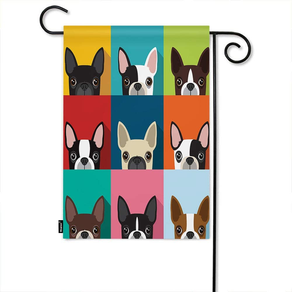 Amazon Com Moslion Dog Garden Flag Boston Terrier Cute Fun Animal Cartoon Pets Dogs Head Face Home Flags 12x18 Inch Double Sided Banner Welcome Yard Flag Outdoor Decor Lawn Villa Garden