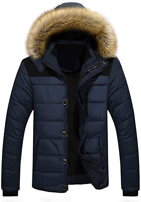 YUNY Mens Plus Size Faux Fur Lined Warm Thicken Down Jackets and Coats Beige 7XL