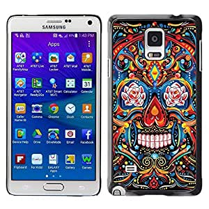 Colorful Printed Hard Protective Back Case Cover Shell Skin for Samsung Galaxy Note 4 IV / SM-N910F / SM-N910K / SM-N910C / SM-N910W8 / SM-N910U / SM-N910G ( Indian Pattern Floral Skull Death )