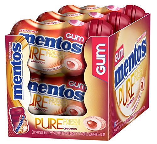 Mentos Pure Fresh Sugar-Free Chewing Gum with Xylitol, Cinnamon, Stocking Stuffer, Gift, Holiday, Christmas, 50 Piece Bottle (Pack of 6)
