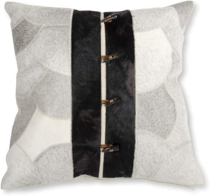 K K Interiors 15719a 20 Inch Two Tone Hide Square Pillow With Four Tooth Shape Buttons Linen Gray Home Kitchen
