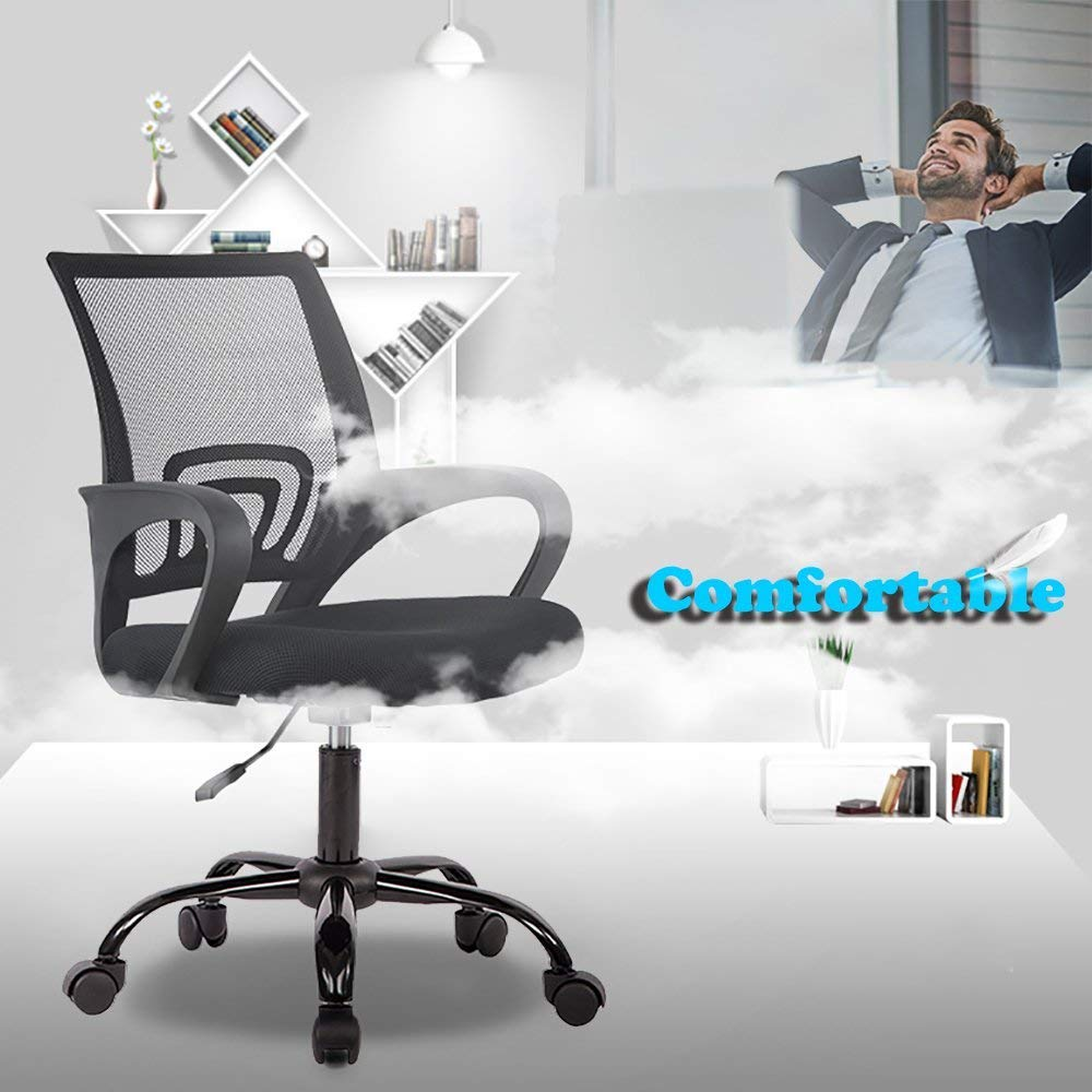 BestOffice Chair Desk Ergonomic Swivel Executive Adjustable Task MidBack Computer Stool with Arm in Home-Office Mesh Black (2pcs) by BestOffice (Image #2)