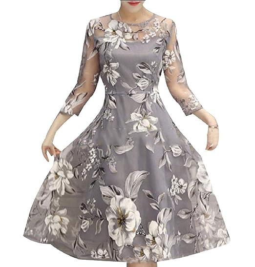 c27a48ab18 Zimaes-Women Women's A Line Mesh Fashion Floral Print Elegant ...