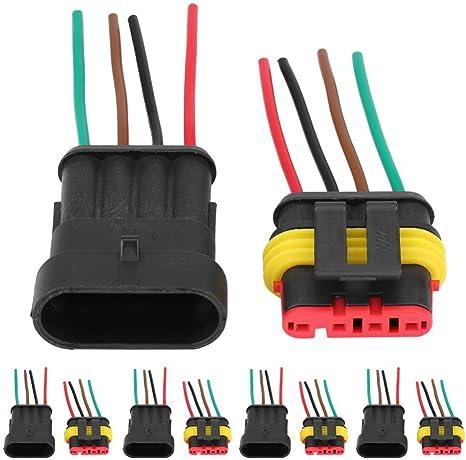 5 paire 2 Pins Connecteur électrique Prise Etanche Fil Auto Moto Fiche Plug FR