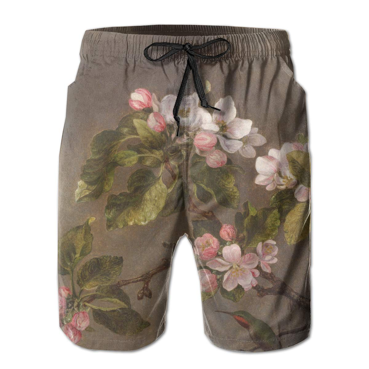 Rolandrace Hummingbird And Apple Blossoms Mens Colorful Swim Trunks Beach Board Shorts With Lining