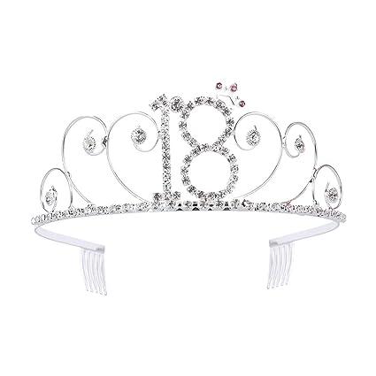 18 cumpleaños Tiara cristalina del Rhinestone de cumpleaños ...