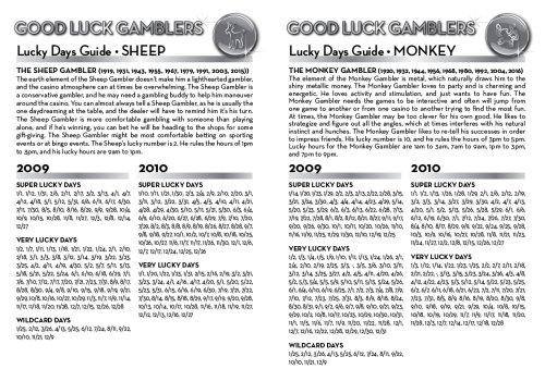 Good Luck Gamblers Lucky Days Guide