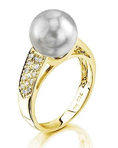 THE PEARL SOURCE 14K Gold 9-10mm Round Genuine White South Sea Cultured Pearl Diamond Alexa Ring for Women