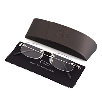 6fb16df9129f Happy Store Light Unisex Men and Women Stylish Sleek Design Oval Rimless  Frameless Magnifying Resin Lenses