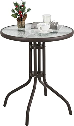 24″ Patio Dining Table Round Bistro Table Outdoor Furniture Garden Table