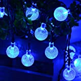 Qedertek Solar String Lights Outdoor,Bubble Globe Solar Lights 20ft 30 LED String Light Crystal Ball Lighting for Christmas, Fairy Garden, Patio, Wedding, Party and Holiday Decorations (Blue)
